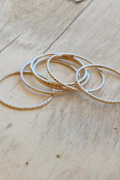 Set of 5 Gold rings, Stacking ring, stacking gold rings, thin ring, hammered ring, tiny ring, thin rings- R22