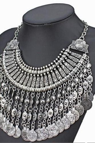 Silver Bohemian Style Alloy Statement Bib Necklace
