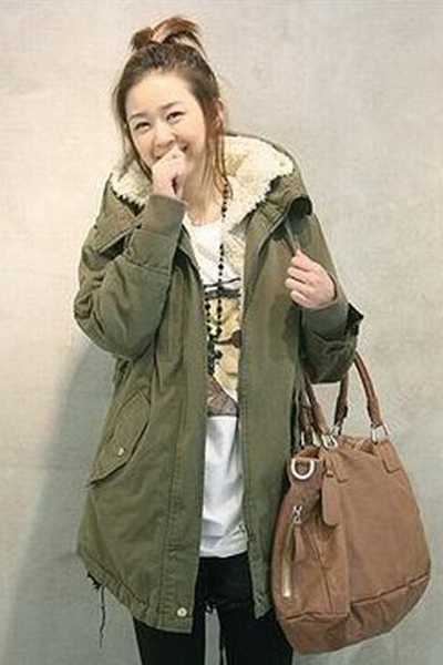 Cheap New Style Long Sleeves Zipper Design Army Green Long Parka