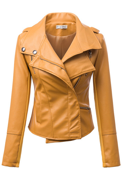 Cheap New Style Turndown Collar Three Quarter Sleeves Zipper Design Yellow Faux Leather Short Jacket