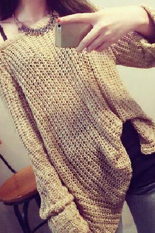Loose round neck knit sweater #BF102221