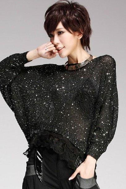 Lace Hem Sequin Batwing-Sleeved Knitwear
