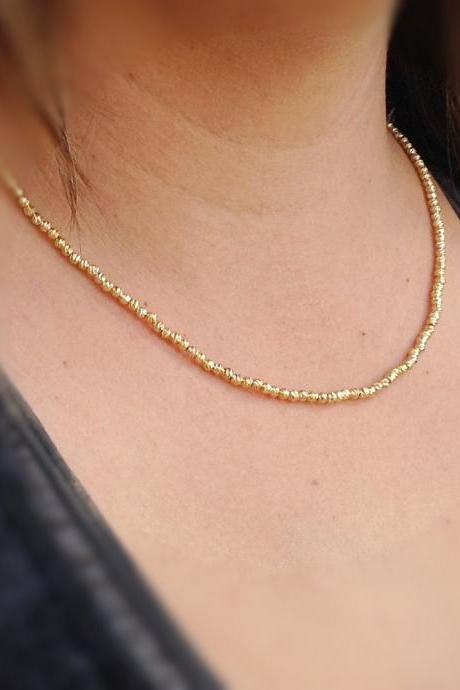 gold necklace, Beaded necklace, gold filled necklace,gold filled beads, statment necklace 22053