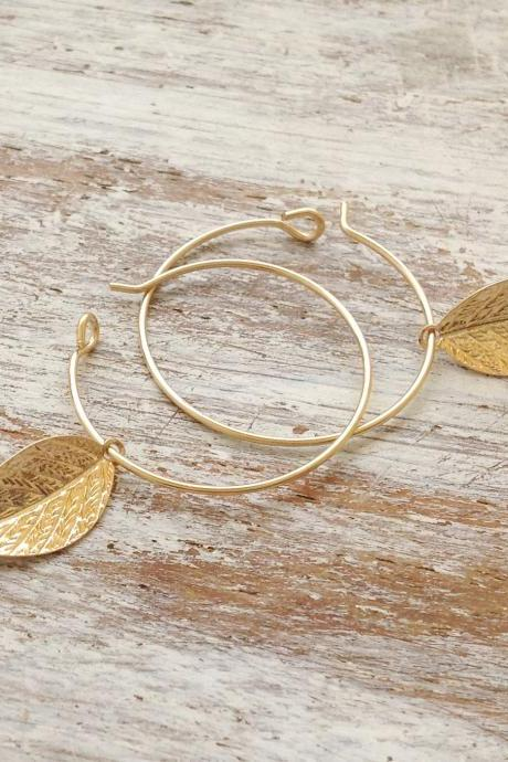 Gold earrings, gold filled earrings, hoop earrings, leaf earrings, leaf jewelry, gold filled hoop, simple gold earrings- 20007