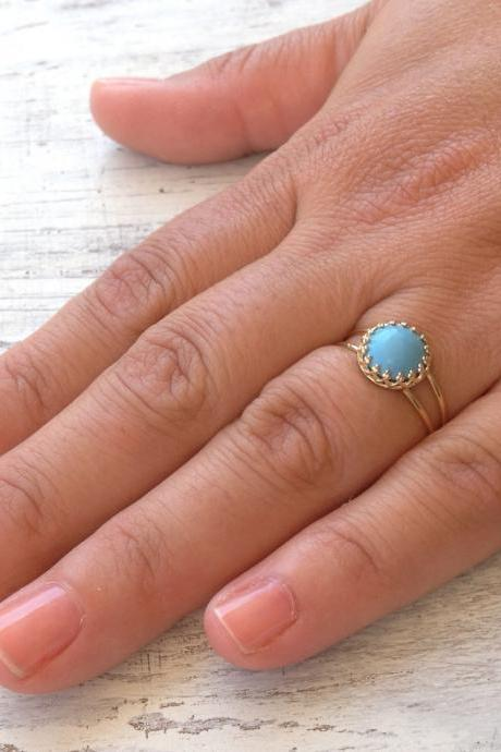 Gold ring, summer, Turquoise ring, stacking ring, vintage ring, stack ring, stack gold ring, Blue ring, classic ring- RT1