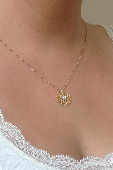 gold necklace, Gold flower necklace, delicate necklace, swarovski stone, lace pattern necklace 7012
