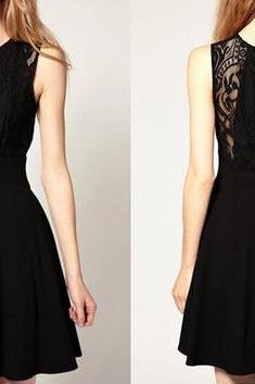 Fashion Lace Sleeveless Dress - Black