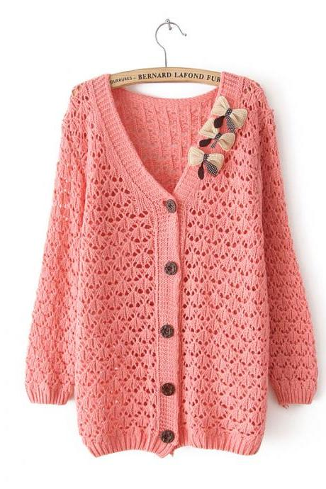 Fashion Pink Bow Hollow Out Slim Sweater