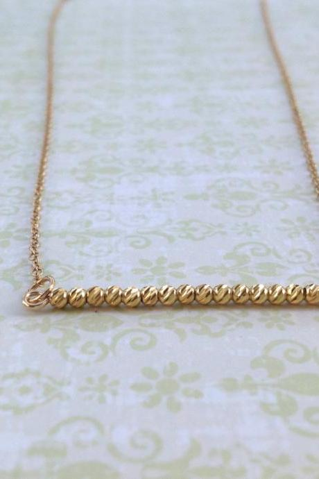 gold bead necklace, gold necklace, tiny beads necklace, dainty necklace, gold beads, gold filled - 7006