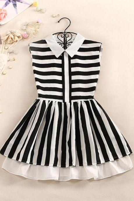 Striped Collared Double Layered Sleeveless Dress
