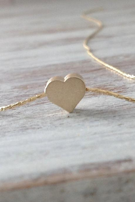 gold necklace, tiny gold necklace,heart necklace, petite jewelry, gift for her 10042