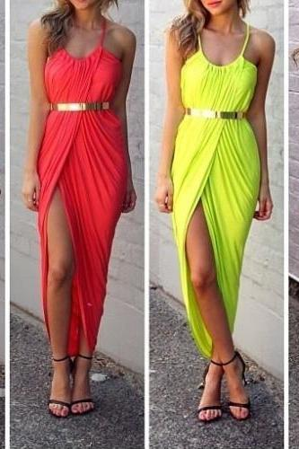 SEXY CUTE DESIGN PURE COLOR DRESS WITH BELT