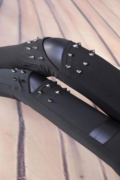 Vintage Personality Leggings Rivet Leather