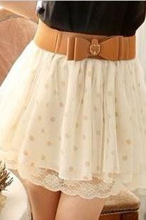 Nice Lace Wave Point Skirt With The Belt