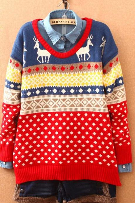 Sweet Deer Quilted Snowflake Christmas Sweater&Cardigan