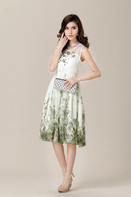 Sleeveless Knee-Length Floral Print Dress Womens Party Prom Dress