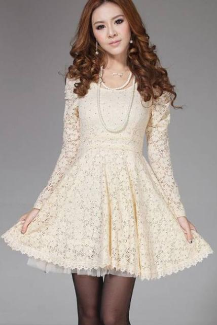 Charming Round Neck Long Sleeve Shirred Waist Lace Dress - Apricot