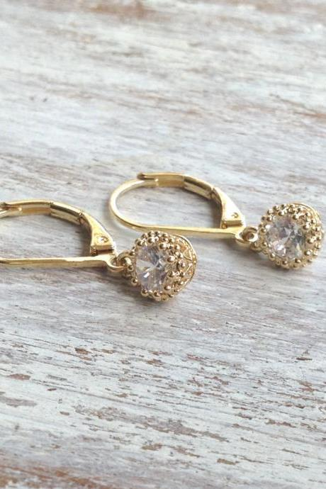 Gold earrings, crystal earings, dangle earrings, classic earrings, special jewelry, goldfilled earrings -6631