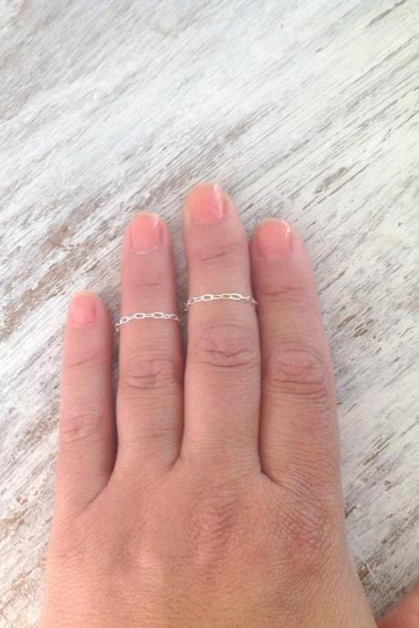 sterling silver rings, silver chain ring, knuckle rings, set of 2 rings, tiny ring, dainty ring, thin ring, any size