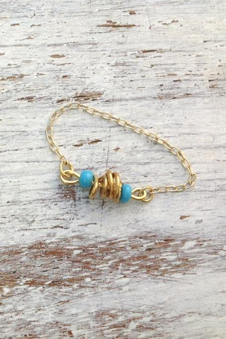 Turquoise ring, gold ring, ring chain, dainty gold ring, simple gold ring, any size, turquise ring-152