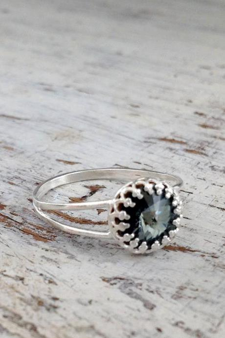 Silver ring, cocktail ring, stacking ring, vintage ring, stackable ring, stackable silver ring, grey black 9013