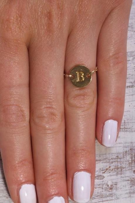 Initial ring, personalize ring, gold ring, letterring, friendship ring, custom initial ring