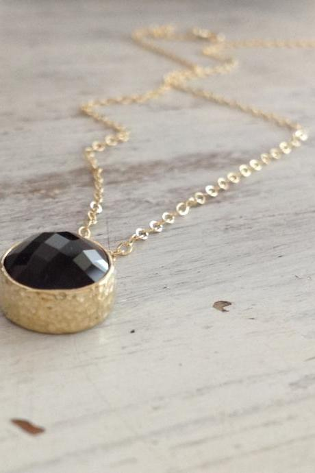 Gold necklace, black onyx necklace, black necklace, moth'rs necklace, onyx necklace, black and gold 20057