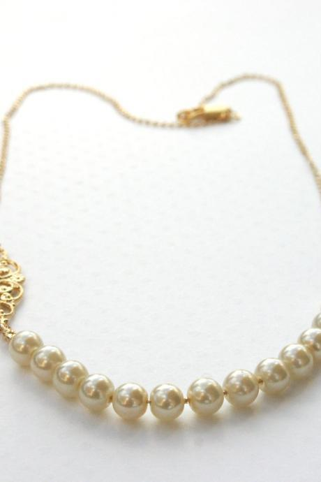 Gold necklace, pearl necklace, dainty necklace, bride necklace , wedding jewelry, impressive necklace, unique necklace, delicate -108