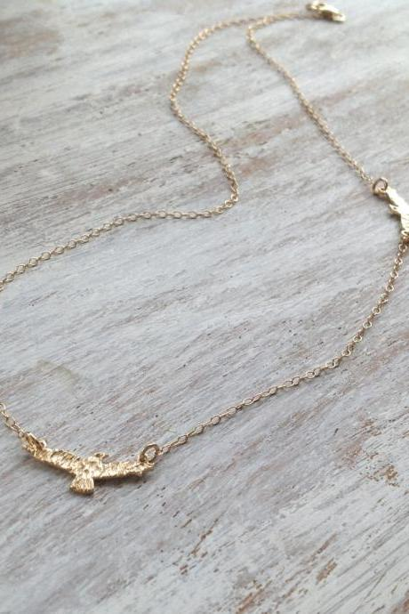 Gold necklace, seagull necklace, gold filled necklace, impressive necklace, delicate necklace - 565