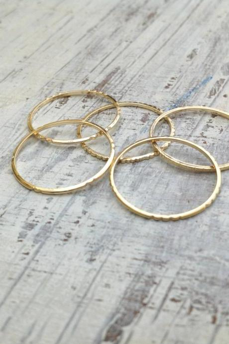 5 Gold rings, Stacking ring, stacking gold rings, knuckle rings, thin ring, hammered ring, tiny ring RR2