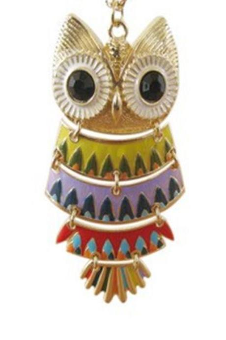 Beautiful color black eyes owl necklace