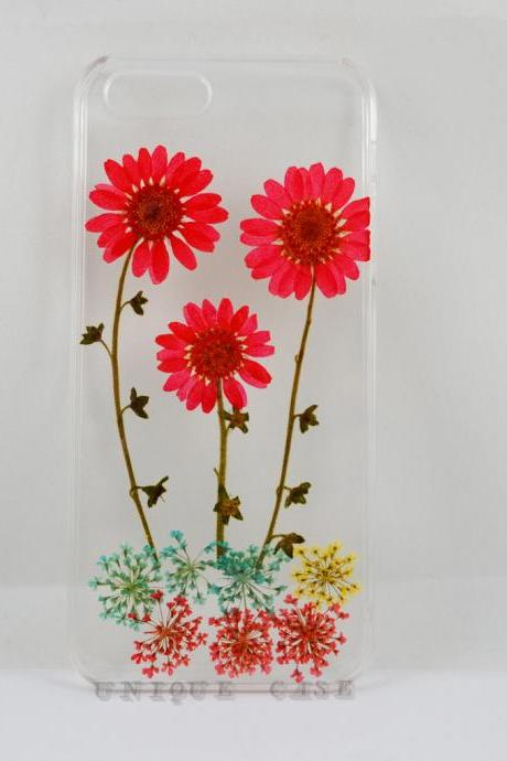 Pressed flower iphone 4s case real flower iphone 5 5s 5c case, red daisy and leaf flower garden iphone 6 case, real flower S2 S3 S4 mini S5 LG G2 M7 z10 case