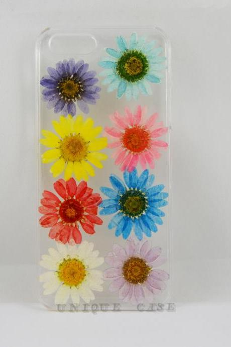 Pressed flower iphone 5s case real flower iphone 4 5s 5c case, rainbow daisy iphone 6 case, real flower S2 S3 S4 mini S5 LG G2 M7 z10 case