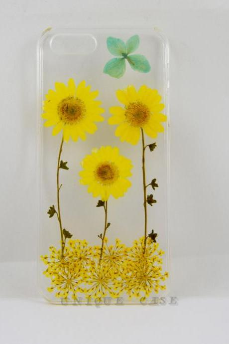 Pressed flower iphone 6 case real flower iphone 5 5s 5c case, yellow daisy and leaf garden iphone 4s case, real flower S2 S3 S4 mini S5 LG G2 M7 z10 case