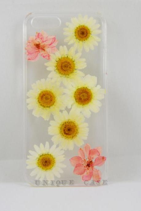 Pressed flower iphone 5 case real flower iphone 4 5s 5c case, pink Larkspur and white daisy iphone 6 case, real flower S2 S3 S4 mini S5 LG G2 M7 z10 case
