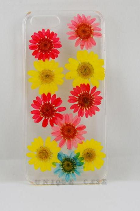 Pressed flower iphone 5 case real flower iphone 4 5s 5c case, rainbow colorful daisy iphone 6 case, real flower S2 S3 S4 mini S5 LG G2 M7 z10 case