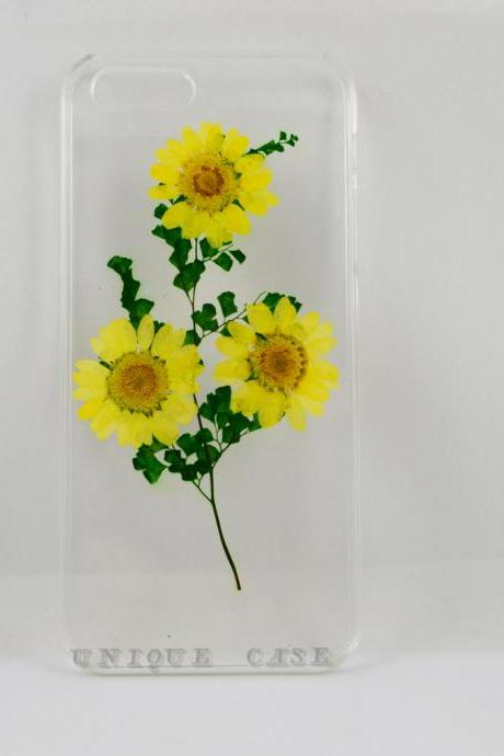 Pressed flower iphone 5 case real flower iphone 4 5s 5c case, yellow daisy and leaf iphone 6 case, real flower S2 S3 S4 mini S5 LG G2 M7 z10 case