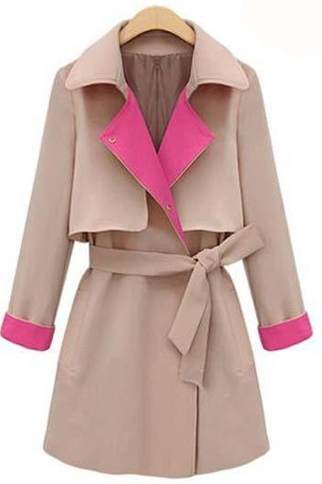 High Quality Turndown Collar Trench Coat For Lady - Khaki GG0K0ATZ01KIYICPRO8KZ