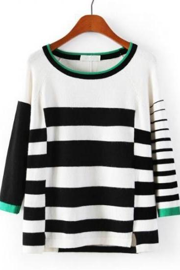 Fashion Color Block Round Neck Knitting Striped Sweater R6H435YZU0YOSV9KNHXT9