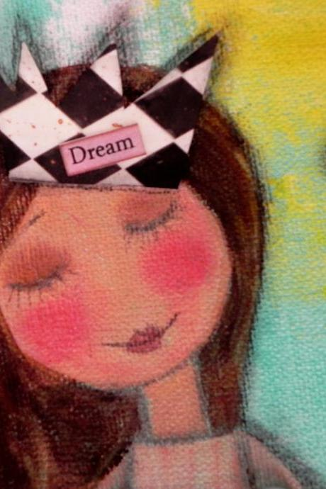 I had a dream...9x12 mixed media canvas painting ORIGINAL