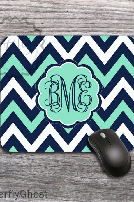 Custom Computer Mousepad - Three Colors Chevron with classic Vine monogram mat, personalized office gift accessory