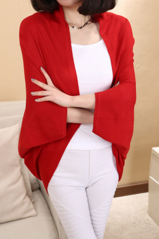 Big women's knitted cardigan pure cotton bat sleeve female shawl one size