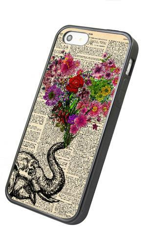 Floral heart Elephant - iphone 4 4s case iphone 5 5s 5c case iphone 6 6 plus case ipod touch 4 ipod touch 5 case