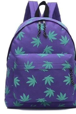 *free Ship* Leaf Weed Schoolbag Backbag