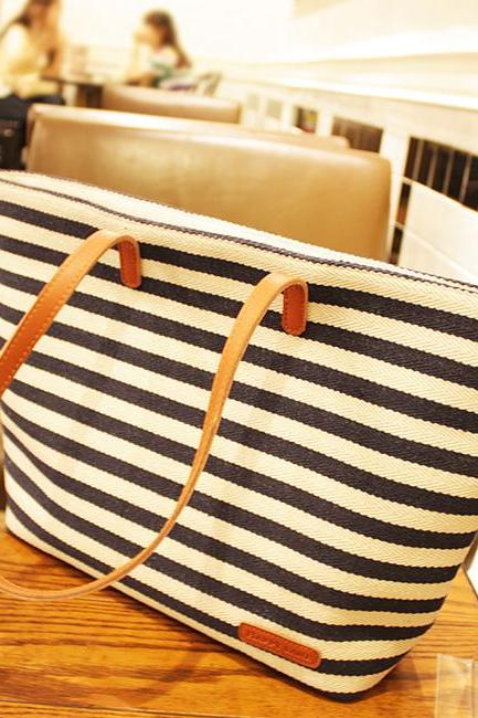 Retro Leisure Navy Style Strip Print Canvas Handbag - Blue/Red