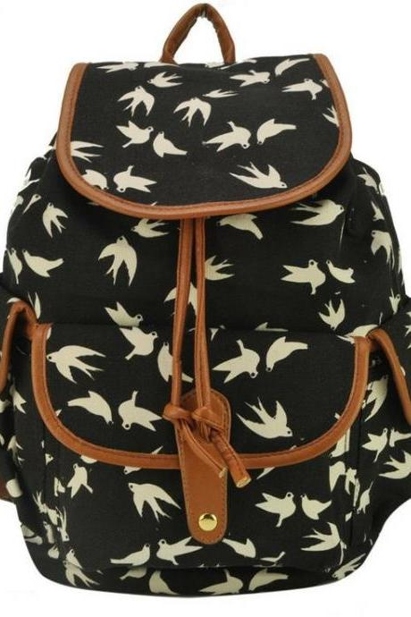 Bird Print Graphic Canvas Girl Backpack