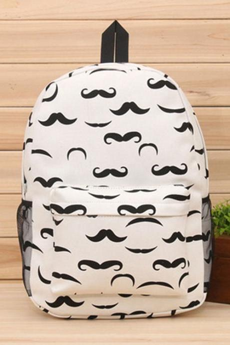Cute Cartoon Moustache Owl Printed Canvas Backpack