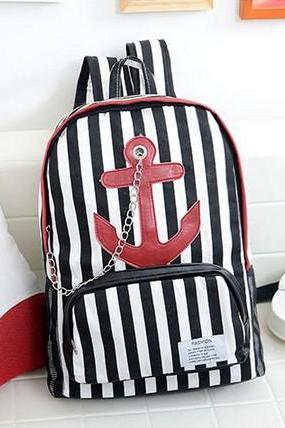 Backpack Women Men Bags Anchor Stripe Shoulder Bag Hot Sale