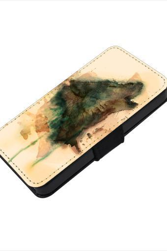 Art Wolf - canvas PU leatherette flip wallet iphone 4 4s case iphone 5 5s 5c case, S2 i9100 S3 i9300 S4 i9500 S5 case Note 1 2 3 case