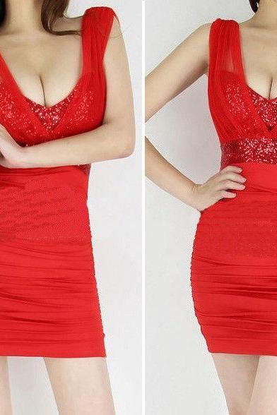 Womens New Fashion Black Red Blue White V Neck Sexy Gauze Sequins Backless Nightclub Mini Dress Ladies Party Dresses